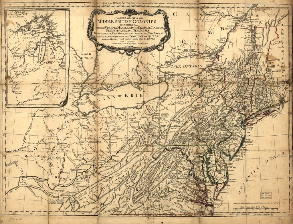 A general map of the middle British colonies, in America. Containing Virginia, Maryland, the Delaware counties, Pennsylvania and New Jersey. With the addition of New York, and the greatest part of New England, as also of the bordering parts of the province of Quebec, improved from several surveys made after the late war, and corrected from Governor Pownall's late map 1776.
