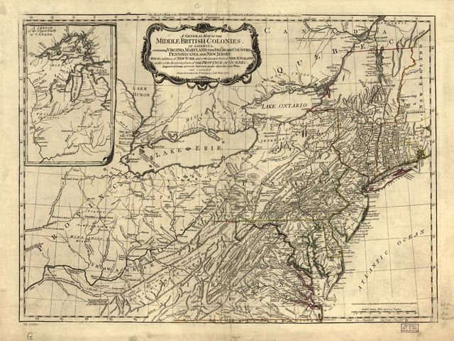 A general map of the middle British colonies, in America. Containing Virginia, Maryland, the Delaware counties, Pennsylvania, and New Jersey. With the addition of New York, and of the greatest part of New England, as also of the bordering parts of the province of Quebec, improved from several surveys made after the late war, and corrected from Governor Pownall's late map 1776.