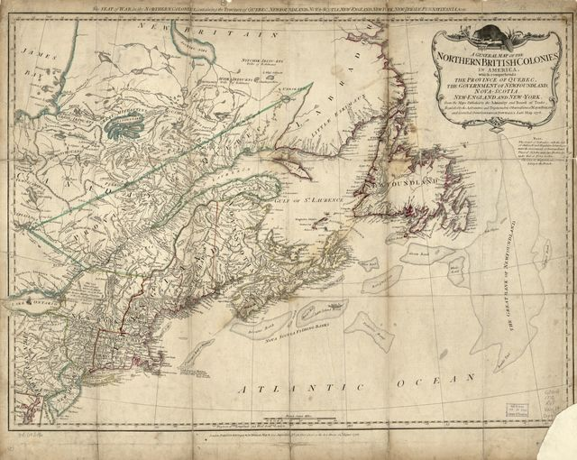 A general map of the northern British colonies in America. Which comprehends the province of Quebec, the government of Newfoundland, Nova-Scotia, New-England and New-York. From the maps published by the Admiralty and Board of Trade, regulated by the astronomic and trigonometric observations of Major Holland and corrected from Governor Pownall's late map 1776.