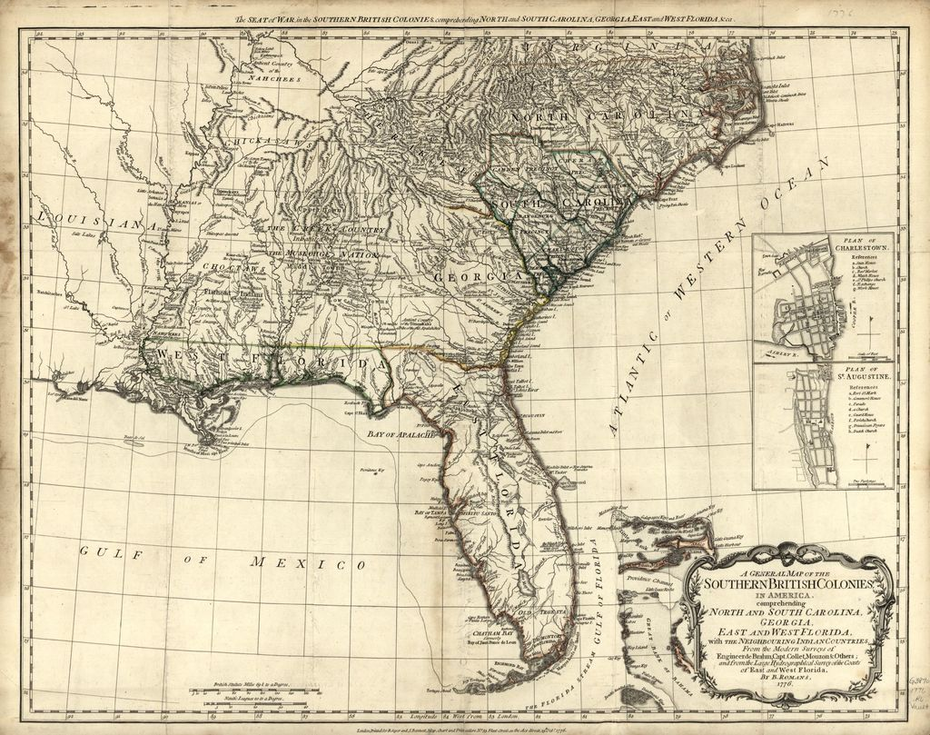 A general map of the southern British colonies in America, comprehending North and South Carolina, Georgia, East and West Florida, with the neighboring Indian countries, from the modern surveys of Engineer de Brahm, Capt. Collet, Mouzon, & others, and from the large hydrographical survey of the coasts of East and West Florida.
