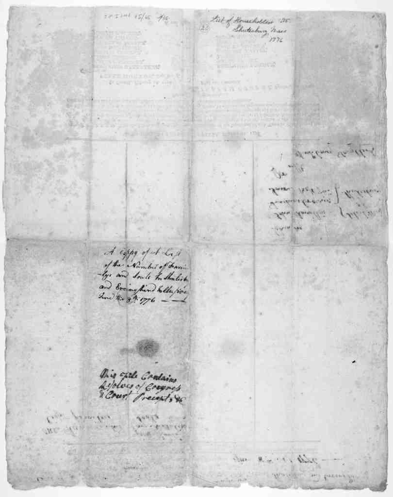 A list of return on oath of the names of the householders in the Town of [blank] in the County of [blank] in the Colony of the Massachusetts-Bay; and of the number of the souls in each family, including, innmates and boarders … In the House of r