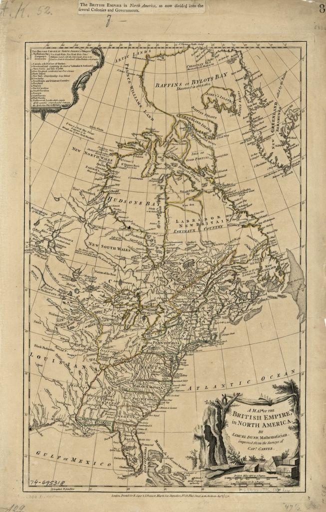 A map of the British Empire, in North America.