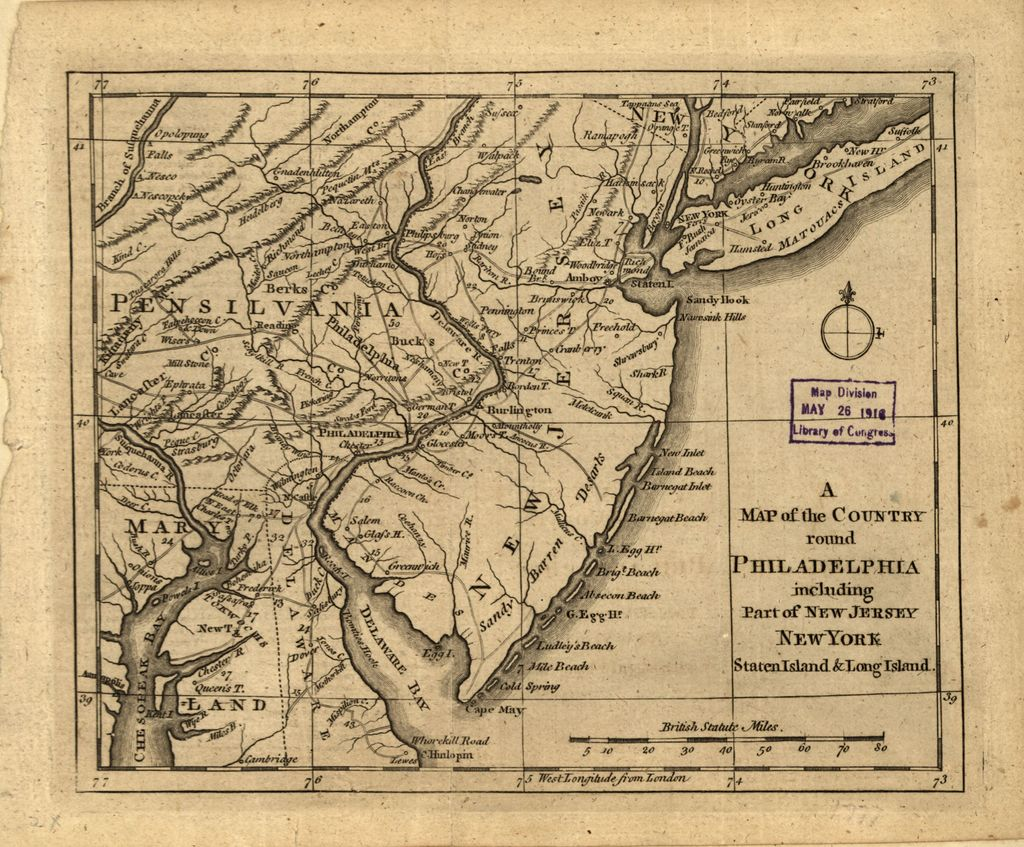 A Map of the country round Philadelphia including part of New Jersey, New York, Staten Island, & Long Island.