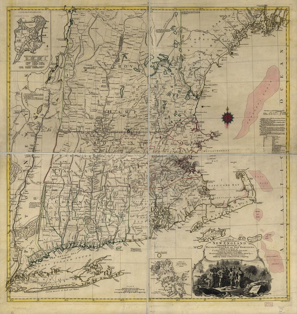 A map of the most inhabited part of New England, containing the colonies of Conecticut and Rhode Island, divided into counties and townships: The whole composed from actual surveys and its situation adjusted by astronomical observations.