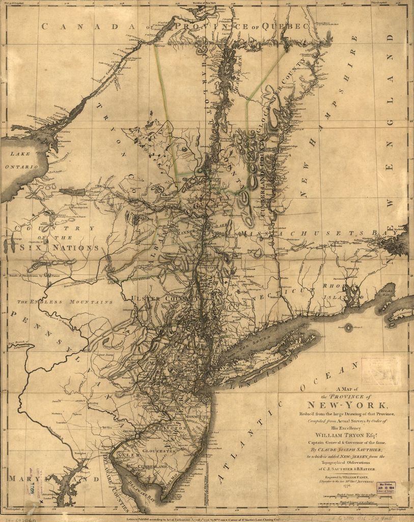 A map of the Province of New-York reduc'd from the large drawing of that Province, compiled from actual surveys by order of His Excellency William Tryon, Esqr., Captain General & Governor of the same, by Claude Joseph Sauthier; to which is added New Jersey.
