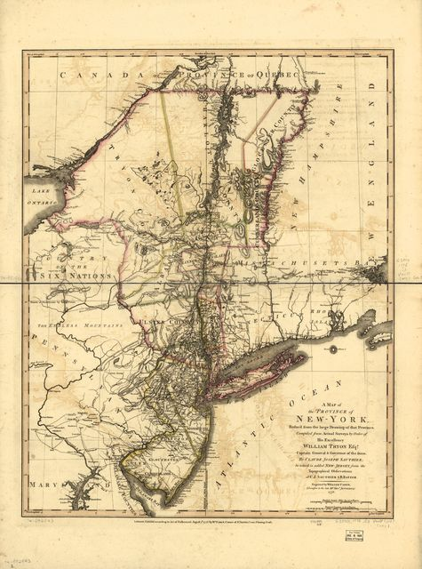 A map of the Province of New-York, reduc'd from the large drawing of that Province, compiled from actual surveys by order of His Excellency William Tryon, Esqr., Captain General & Governor of the same, by Claude Joseph Sauthier; to which is added New-Jersey,