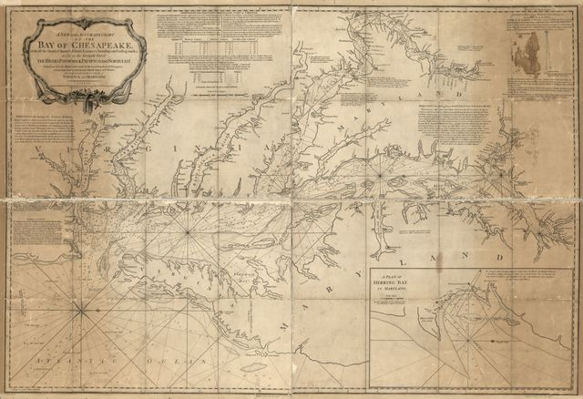 A new and accurate chart of the Bay of Chesapeake, with all the shoals, channels, islands, entrances, soundings, and sailing-marks, as far as the navigable part of the rivers Patowmack, Patapsco and north-east.