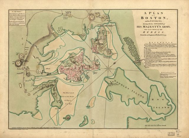 A plan of Boston, and its environs, shewing the true situation of His Majesty's army, and also those of the rebels. Drawn by an engineer at Boston, Octr. 1775. The principal part of this plan was survey'd by Richard Williams, Lieutenant at Boston ...