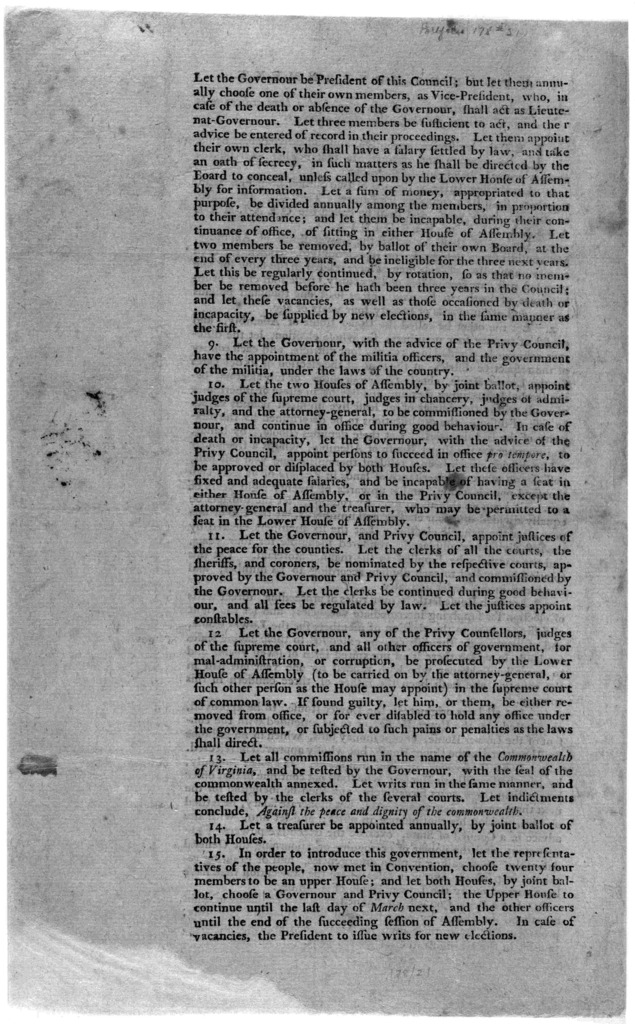 A plan of government. Laid before the committee of the House, which they have ordered to be printed for the perusal of the members. [Williamsburg 1776?].