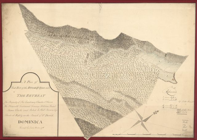 A plan of that part of the Rosalij Estate call'd the Retreat, the property of His Excellency Charles O'Harra, the Honorable Lieutenant Governor William Stuart, James Clarke and Robert & Phill. Browne, Esqrs., situate at Rosalij in the parish of St. David, Dominica.