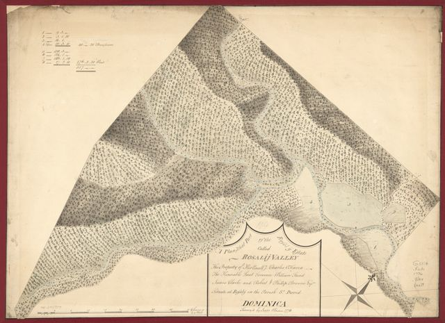 A plan of that part of the Rosalij Estate called Rosalij Valley, the property of His Excellcy. Charles O'Harra, The Honorable Leiut. Governor William Stuart, James Clarke and Robert & Phillip Browne, Esqrs., situate at Rosalij in the parish St. David, Dominica.