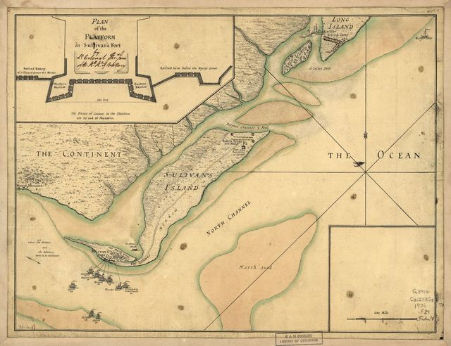 [A plan of the attack of Fort Sulivan, near Charles Town in South Carolina by a squadron of His Majesty's ships on the 28th day of June 1776, with the disposition of the King's land forces and the encampments and entrenchments of the rebels, from the drawings made on the spot.