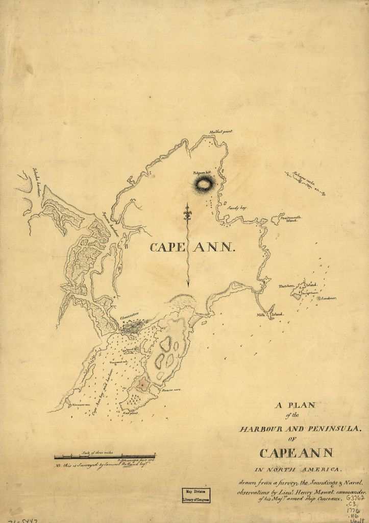 A plan of the harbour and peninsula of Cape Ann in North America,