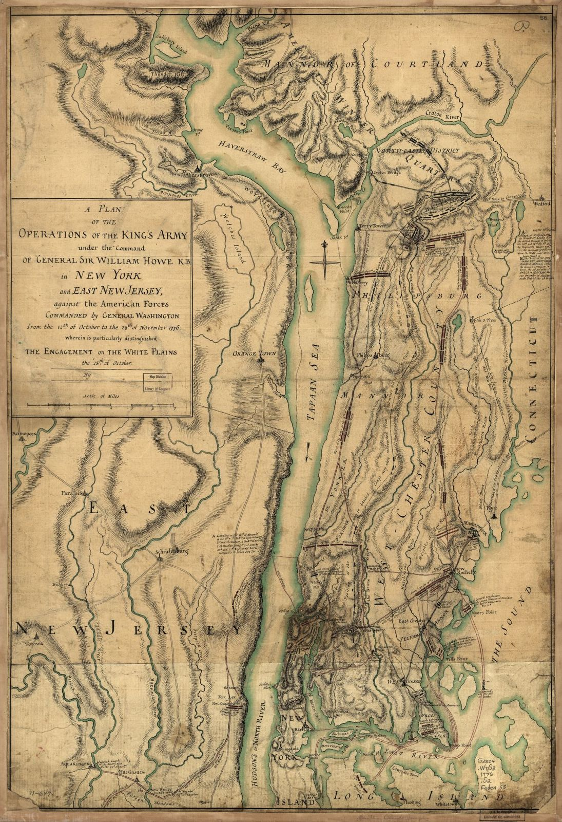 A plan of the operations of the King's army under the command of General Sir William Howe, K.B. in New York and east New Jersey, against the American forces commanded by General Washington from the 12th of October to the 28th of November 1776, wherein is particularly distinguished the engagement on the White Plains the 28th of October.