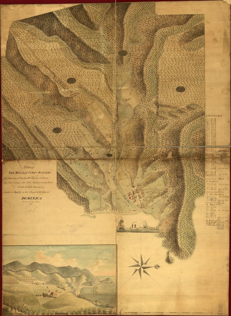 A Plan of the Rosalij Compy. Estates, the property of His Excelly. Charles O'Harra, the Honble. Leiut. Gov. Will. Stuart, James Clarke & Rob. & Phill. Browne, Esqrs., situated at Rosalij in the parish of St. David, Dominica.