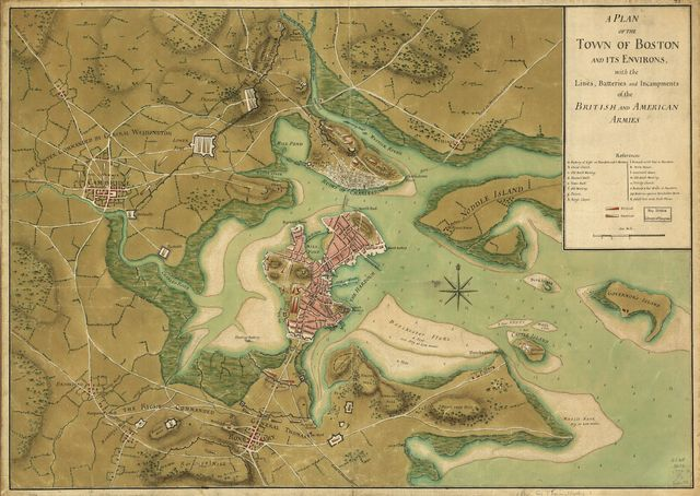 A plan of the town of Boston and its environs, with the lines, batteries, and incampments of the British and American armies.