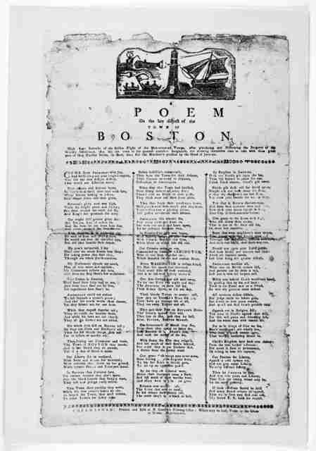 A poem on the late distress of the town of Boston. With some remarks of the sudden flight of the ministerial troops, after plundering and destroying the property of the worthy inhabitants, they left the town in the greatest confusion imaginable,