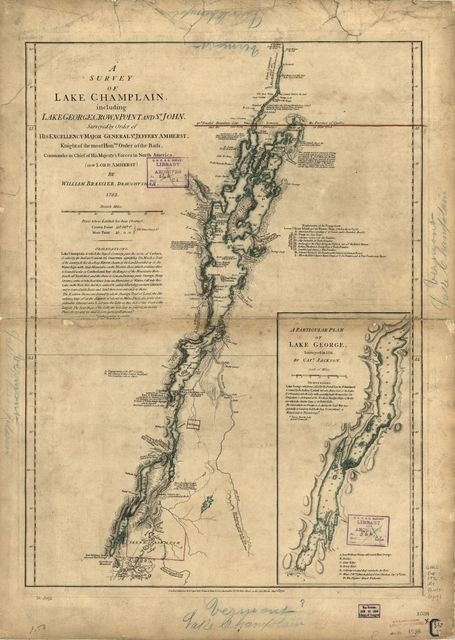 A survey of Lake Champlain, including Lake George, Crown Point, and St. John.