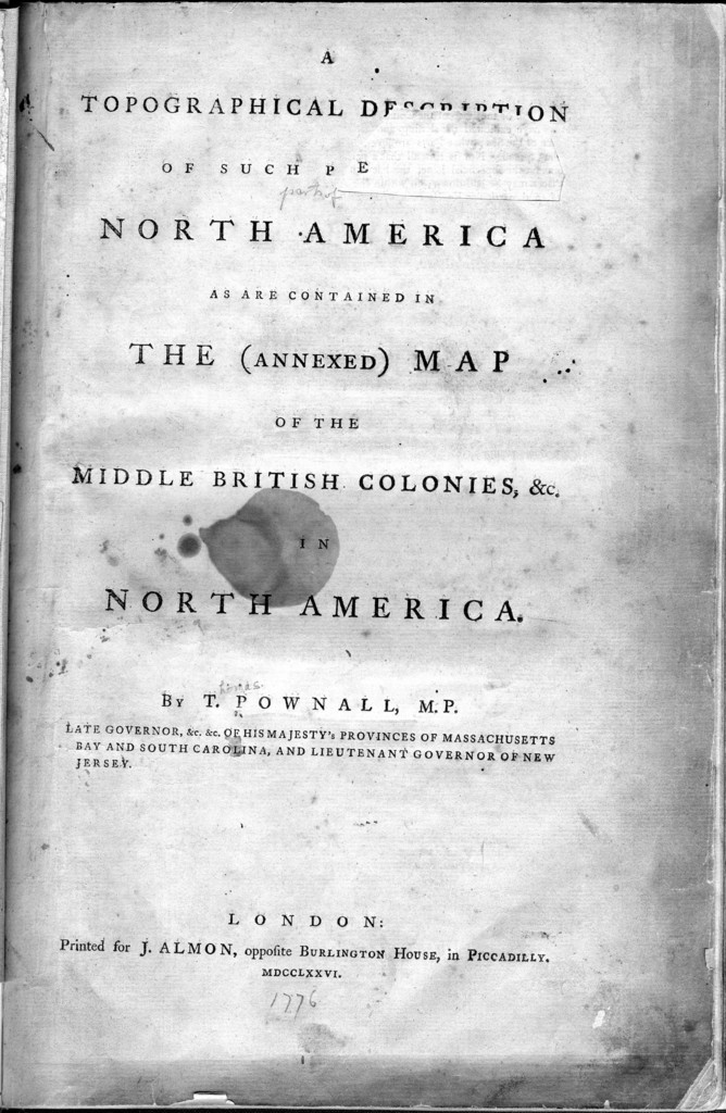 A topographical description of such parts of North America as are contained in the (annexed) map of the middle British colonies & in North America