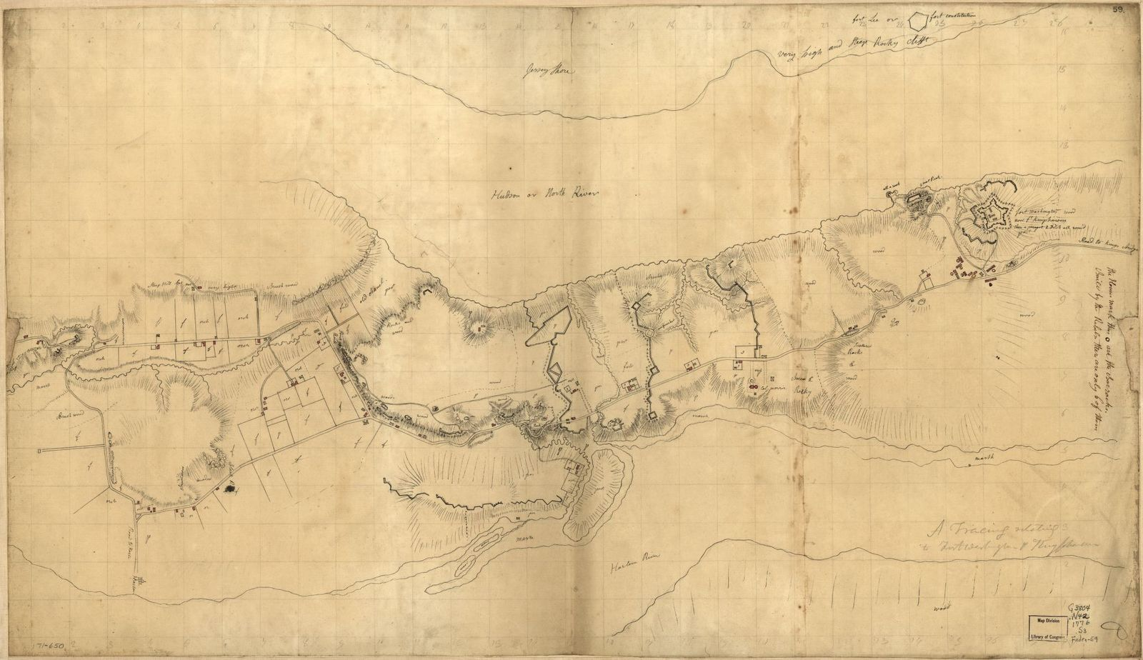 A tracing relating to Fort Washington or Knyphausen.
