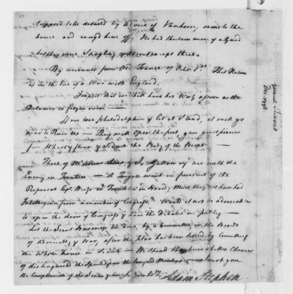 Adam Stephen to Thomas Jefferson, December 1776, Capture of Charles Lee at Basking Ridge, New Jersey