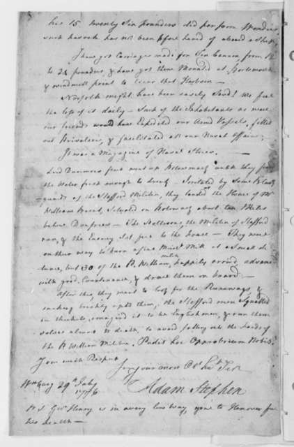 Adam Stephen to Thomas Jefferson, July 29, 1776, Indian Hostilities; Continental Army Engagements