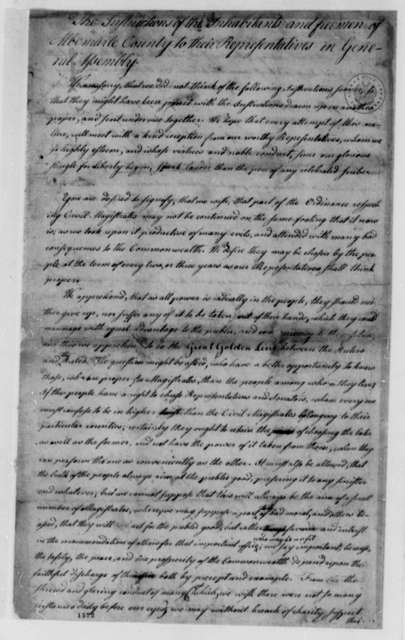 "Albemarle County, Virginia, ""Inhabitants and Freemen"", 1776, Additional Instructions to Representative in Virginia General Assembly on State Constitution"