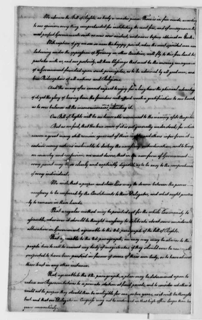 """Albemarle County, Virginia, """"Inhabitants and Freemen"""", 1776, Instructions to Representative in Virginia General Assembly on the State Constitution"""