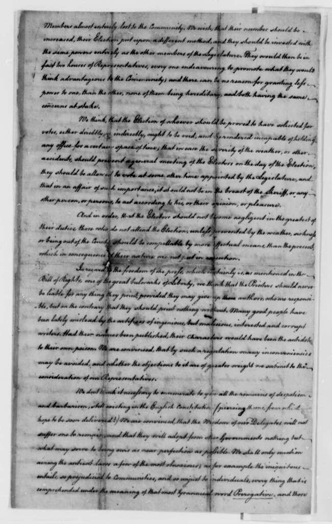 "Albemarle County, Virginia, ""Inhabitants and Freemen"", 1776, Instructions to Representative in Virginia General Assembly on the State Constitution"