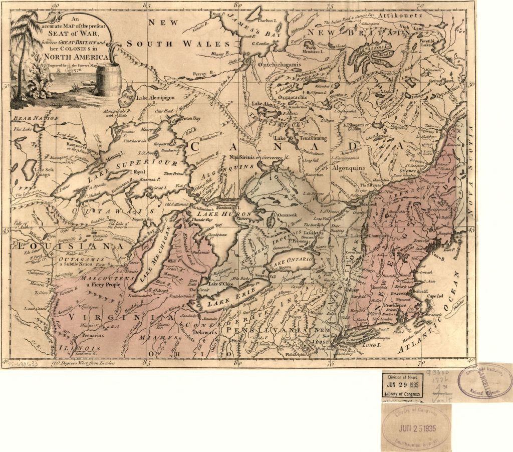 An Accurate map of the present seat of war between Great-Britain and her colonies in North America.