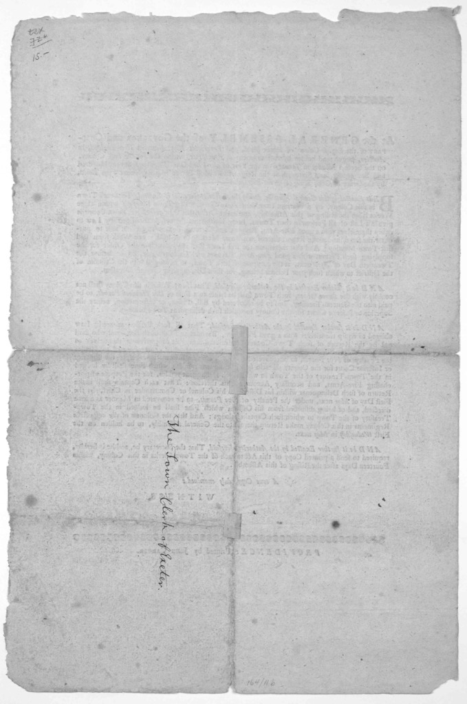 At a General Assembly of the Governor and commander of the English Colony of Rhode Island, and Providence plantations, in New England, in America, begun and holden by adjournment at Providence, within and for the said Colony on the second Monday