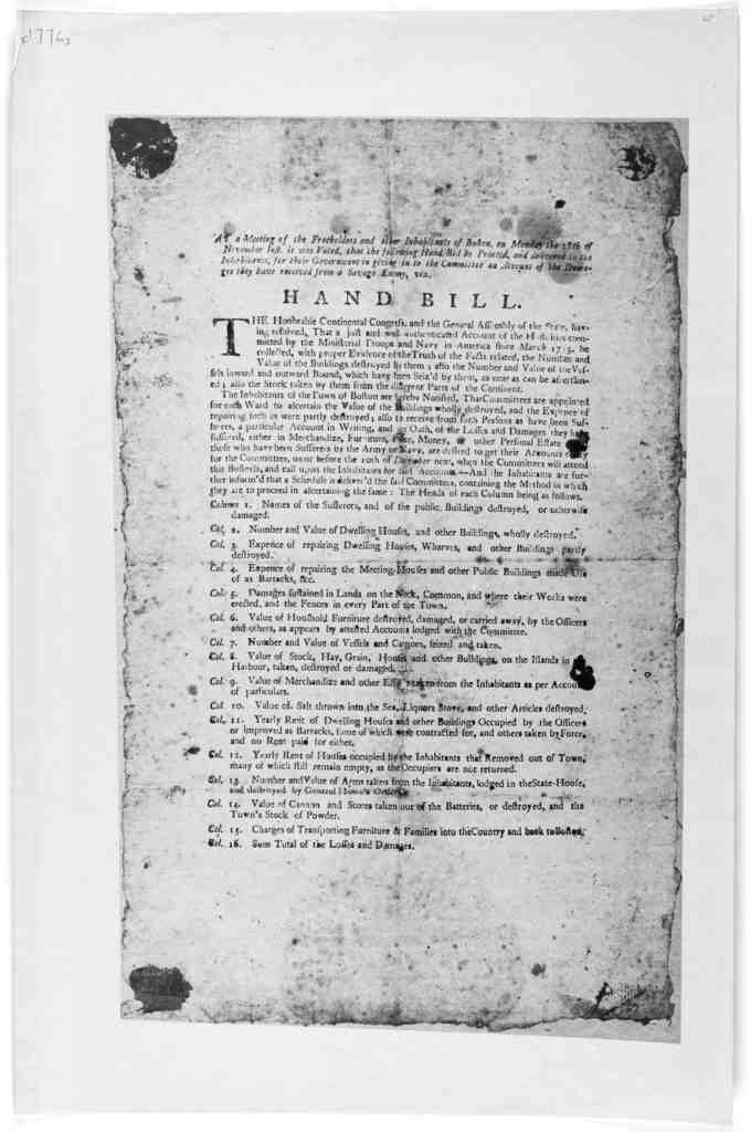 At a meeting of the freeholders and other inhabitants of Boston, on Monday the 18th of November inst., it was voted, that the following hand bill be printed, and delivered to the inhabitants, for their government in giving in to the committee on