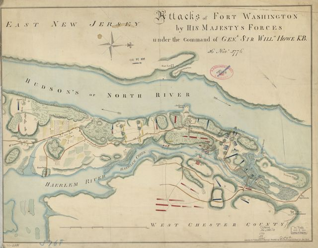 Attacks of Fort Washington by His Majesty's forces under the command of Genl. Sir Willm Howe K.B. 16 Novr. 1776.