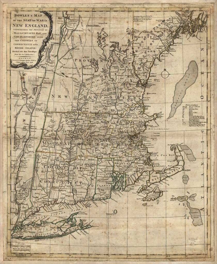 Bowles's map of the seat of war in New England. Comprehending the provinces of Massachusets Bay, and New Hampshire; with the colonies of Connecticut and Rhode Island; divided into their townships; from the best authorities.