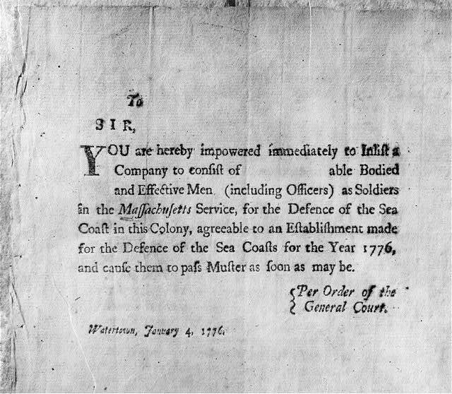 Broadside of Revolutionary War period: [Enlistment authoriz. Watertown, Mass.]