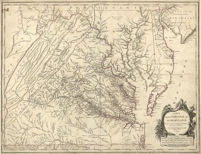 Carte de la Virginie et du Maryland.