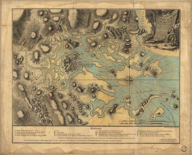 Carte du port et havre de Boston avec les côtes adjacentes, dans laquel on a tracée les camps et les retranchemens occupé, tant par les Anglois que par les Américains.