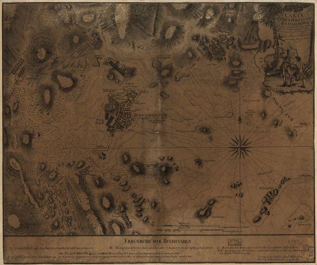 Carte von dem Hafen und der Stadt Boston mit den umliegenden Gegenden und der Lägern sowohl der Americaner als auch des Engländer,