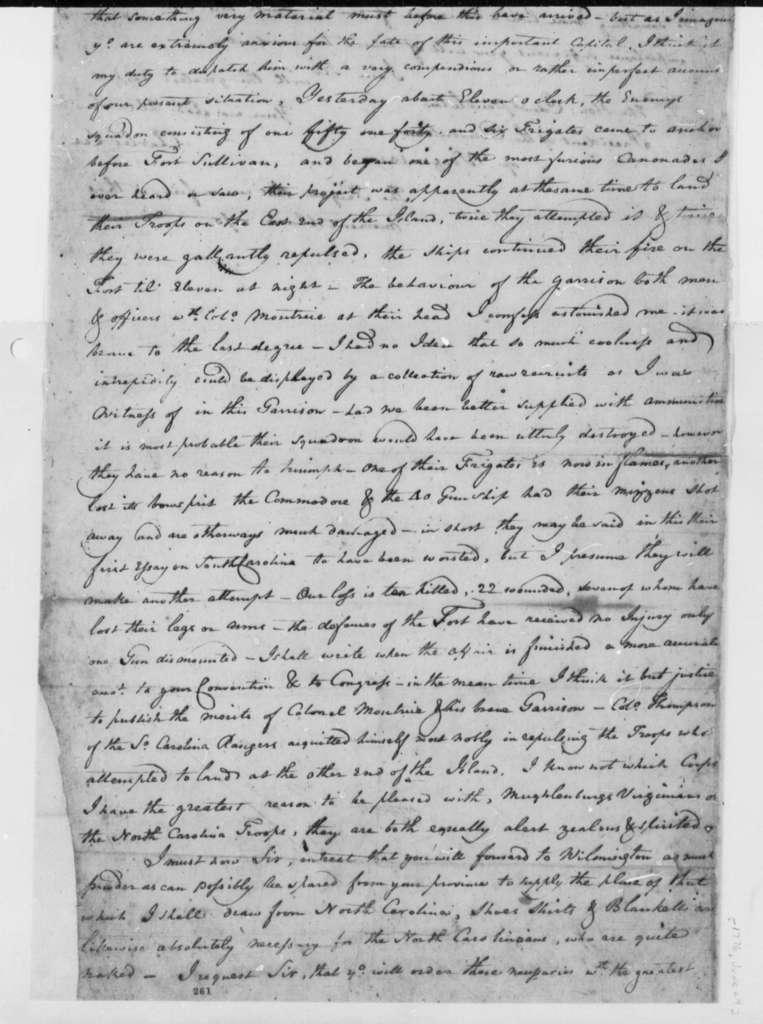 Charles Lee to Edmund Pendleton, June 29, 1776, Cannonade on Fort Sullivan