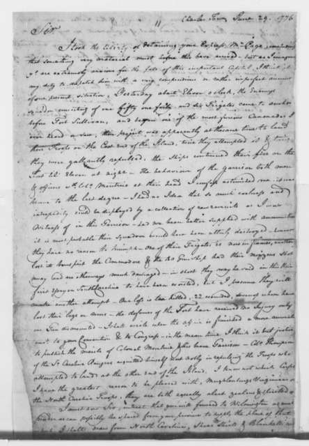 Charles Lee to Edmund Pendleton, June 29, 1776, Cannonade on Fort Sullivan