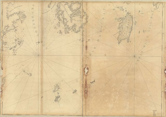[Coast of Maine showing entrances of Blue Hill Bay, Isle of Haut Bay, and Penobscot Bay, with Owls Head, Vinalhaven Island, Isle au Haut, and other islands.
