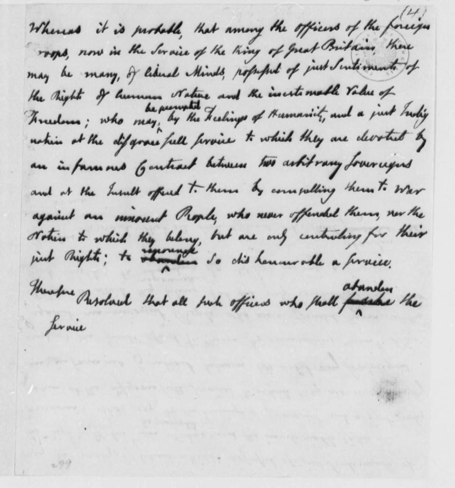 Continental Congress, August 27, 1776, Draft of Resolution to Recruit British Officers and Soldiers into Continental Army; Incomplete