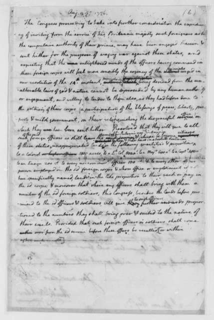 Continental Congress, August 27, 1776, Draft of Resolution to Recruit British Officers and Soldiers into Continental Army