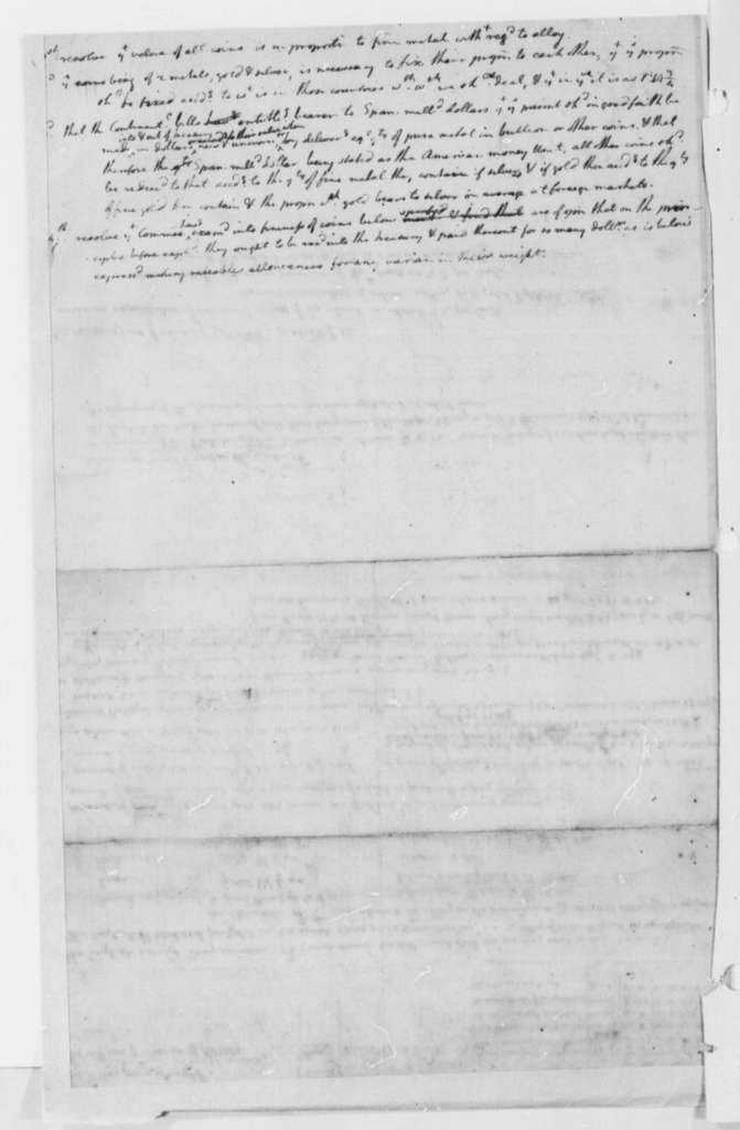 Continental Congress, August-September 1776, Draft of Report on the Value of Gold and Silver Coins; with Table