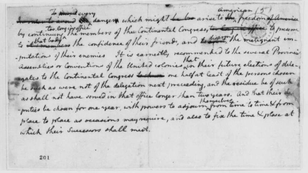 Continental Congress, July 1776, Suggestions on Tenure of Delegates