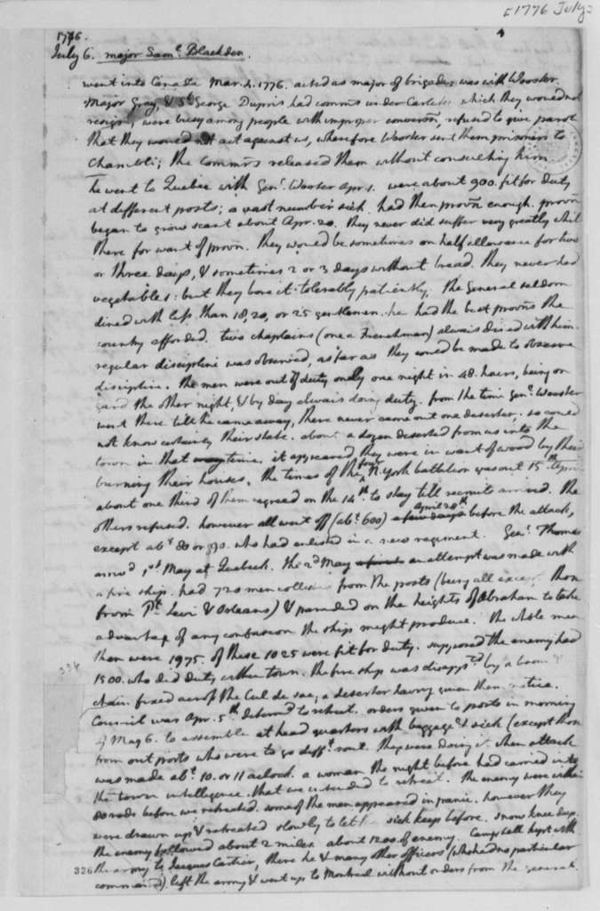 Continental Congress, July 1776, Testimony on Canadian Campaign