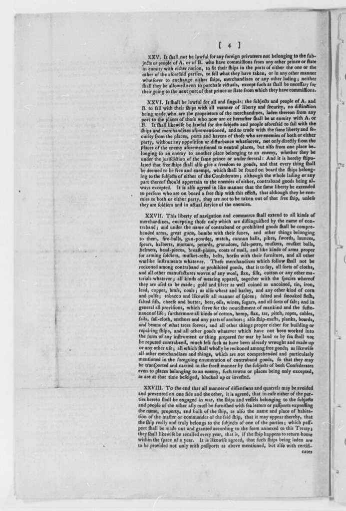 Continental Congress, July 24, 1776, Plan of Foreign Treaties; Printed