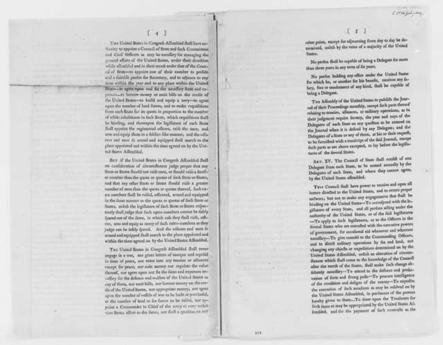 Continental Congress, July-August 1776, Printed Proposals for Articles of Confederation