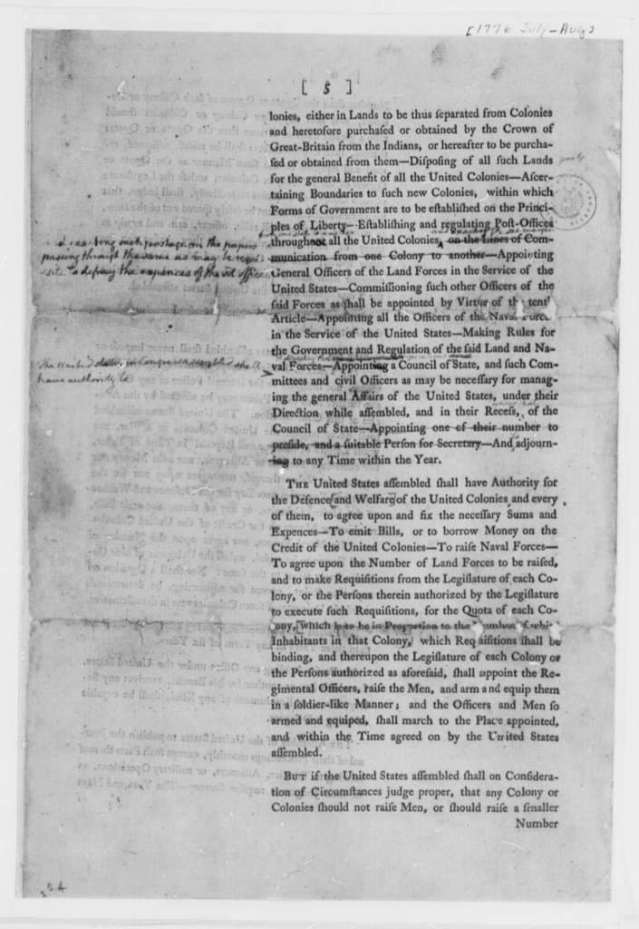 Continental Congress, July-August 1776, Printed Proposals for Articles of Confederation; Incomplete