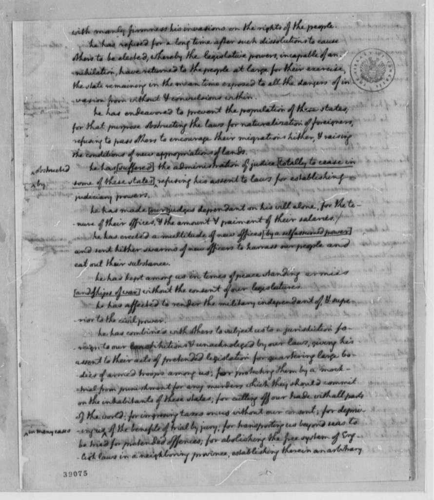 Continental Congress, June 7, 1776, Notes on Debates and Proceedings on Declaration of Independence and Articles of Confederation